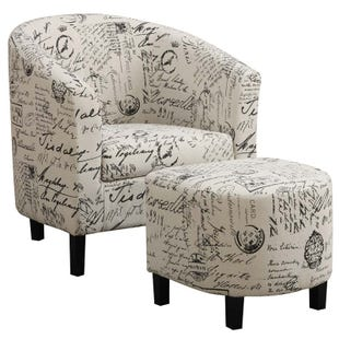 Coaster French Script Chair and Ottoman
