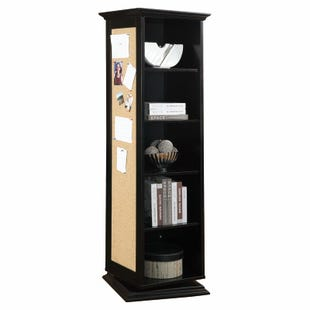Brianna Black Storage Cabinet with Bulletin Board