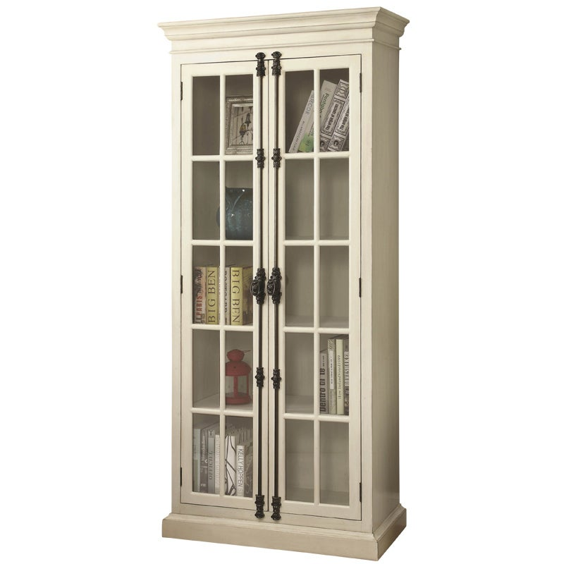 barrow antique white curio with 2 glass doors 4 shelves weekends rh weekendsonly com antique white cube shelves antique white book shelves