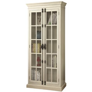 Barrow Antique White Curio with 2 Glass Doors, 4 Shelves