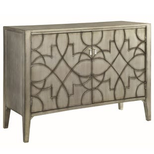 Bellum Metallic Silver Accent Cabinet with 2 Doors