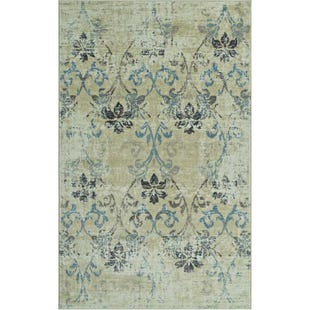 Beckham Blue & Ivory Floral Antique 8x10 Rug