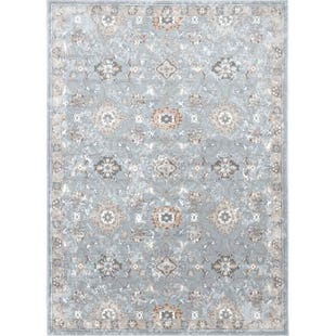 Airmont Blue Traditional Border Polyester Blend 8x10 Rug