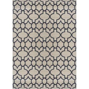 Fresco Gray Contemporary Quatrefoil Polypropylene 5x7 Rug