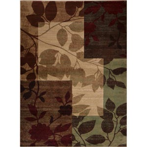 Tribeca Brown Leaf 8x10 Rug