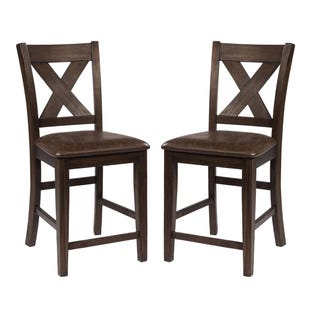 Emmond Dark Espress 2 Piece X-Back Counter Stools