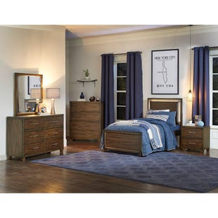 Dawson's Ridge Brown Twin Lighted Headboard Bed