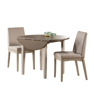 Clarion Sea White 3 Piece Round Drop Leaf Dining Set