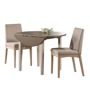 Clarion Sea Gray 3 Piece Round Drop Leaf Dining Set