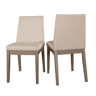 Clarion Set of 2 Distressed Gray Upholstered Dining Chairs