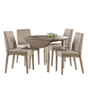 Clarion Sea White 5 Piece Round Drop Leaf Dining Set