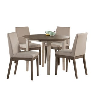 Clarion Sea Gray 5 Piece Round Drop Leaf Dining Set