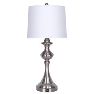 Brushed Nickel USB Port Lamp