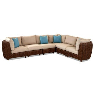 Klaussner Lantana Beige 4 Piece All Weather Wicker Sectional