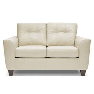 Lane Bazaar Cream Leather Loveseat