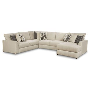 Emperor Ivory Chenille 4 Piece Right Facing Chaise Sectional