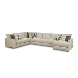 Emperor Ivory Chenille 5 Piece Right Facing Chaise Sectional