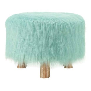 Minty Green Faux Fur Stool