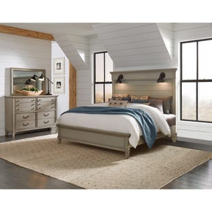 Sausalito Weathered Taupe Lighted Queen 3 Piece Bedroom Set