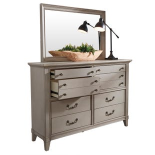 Samuel Lawrence Sausalito Weathered Taupe Dresser and Mirror