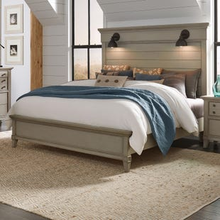 Sausalito Weathered Taupe Lighted King Bed