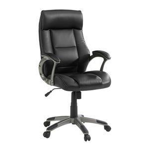 Sauder Parker Black Bonded Leather Swivel Rolling Desk Chair