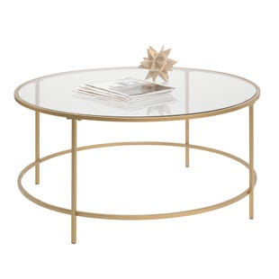 Lux Brass and Glass Round Coffee Table