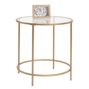 Lux Brass and Glass Round Side Table