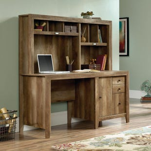 Sauder Dakota Oak Computer Desk with Hutch