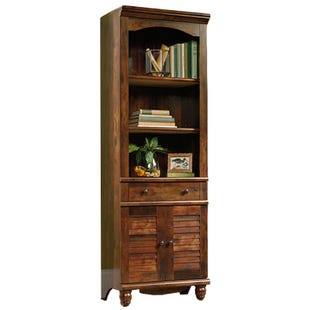 Sauder Harbor View Curado Cherry Library Bookcase w/Doors