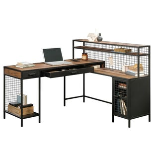 "Boulevard Cafe Metal and Oak Finish L-Shaped 60"" Desk"