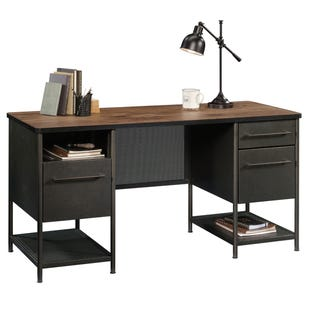 Boulevard Cafe Metal and Oak Finish Executive Desk