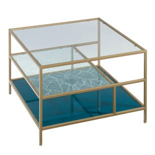Lux Brass and Glass Square Coffee Table