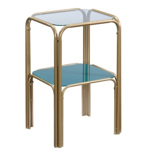 Lux Brass and Glass Square Side Table Gold