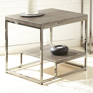 Lucia Gray/Black Nickle End Table