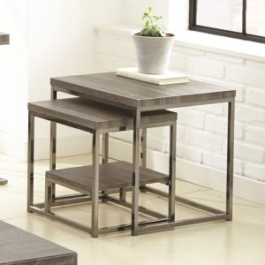 Lucia Gray/Black Nickle Nesting Table