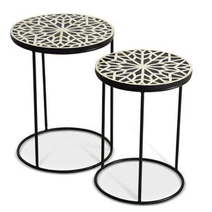 Amisha Black/White Round Nesting Tables