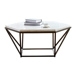 Corvus Marble/Iron Hexagon Coffee Table
