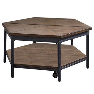 Ultimo Hexagon Brown/Metal Lift Top Coffee Table