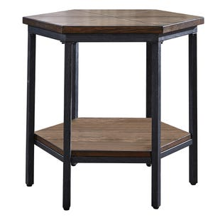Ultimo Hexagon Brown/Metal End Table