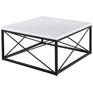 Skyler White Marble and Metal Base Square Coffee Table