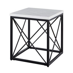 Skylar White Marble/Metal Square End Table