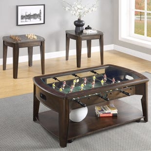 Foosball Wood and Glass Coffee Table