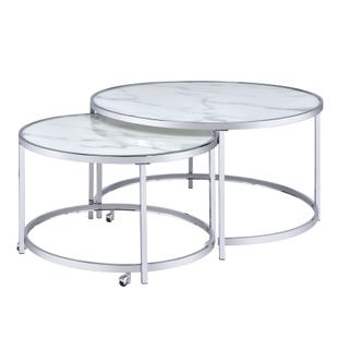 Rayne Nesting Cocktail Table White and Chrome
