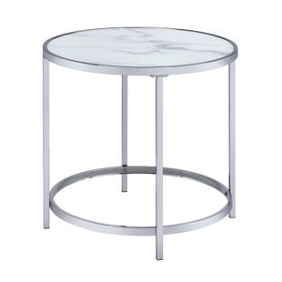 Rayne End Table White and Chrome