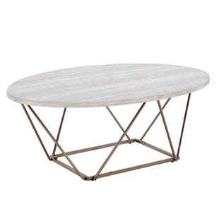 Rowyn White Marble and Copper 3 Piece Table Set