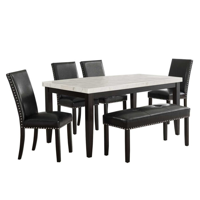 Westby White 6 Piece Marble Dining Set, Weekends Only Dining Room Sets