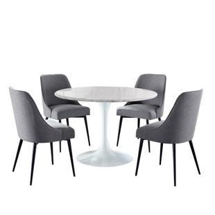 Colfax 5 Piece White Marble and Charcoal Dining Set