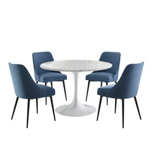 Colfax Round Marble 5 Piece Dining Set White with Navy Blue