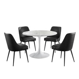 Colfax 5 Piece White Marble and Black Dining Set